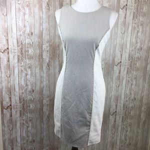 Calvin Klein Gray White Faux Leather Shift Dress